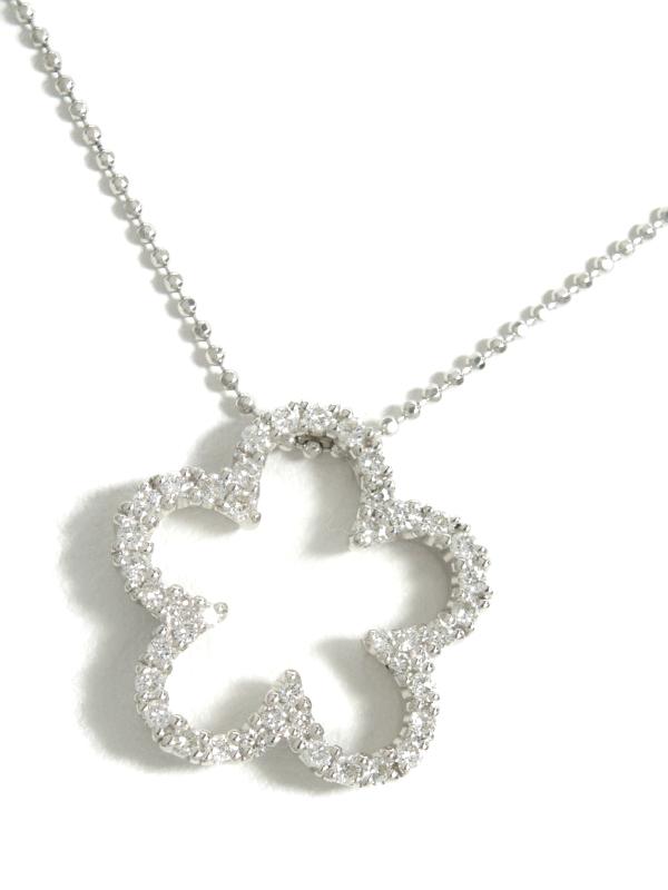 【仕上済】セレクトジュエリー『K18WGネックレス ダイヤモンド0.44ct フラワーモチーフ』1週間保証【中古】b01j/h21SA