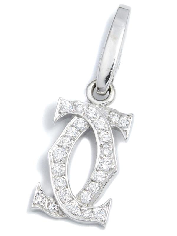 【Cartier】カルティエ『K18WGチャーム 2Cモチーフ ダイヤモンド』ペンダントトップ 1週間保証【中古】b03j/h20A