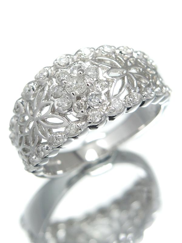 セレクトジュエリー『PT900リング ダイヤモンド0.50ct フラワーモチーフ』12号 1週間保証【中古】b01j/h02A