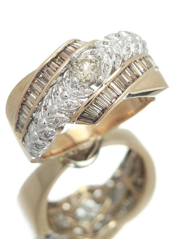 セレクトジュエリー『K18PGリング ダイヤモンド0.95ct』14号 1週間保証【中古】b06j/h17A