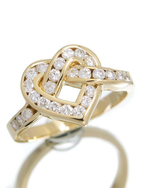 【仕上済】セレクトジュエリー『K18YGリング ダイヤモンド0.56ct ハートモチーフ』12号 1週間保証【中古】b01j/h22SA