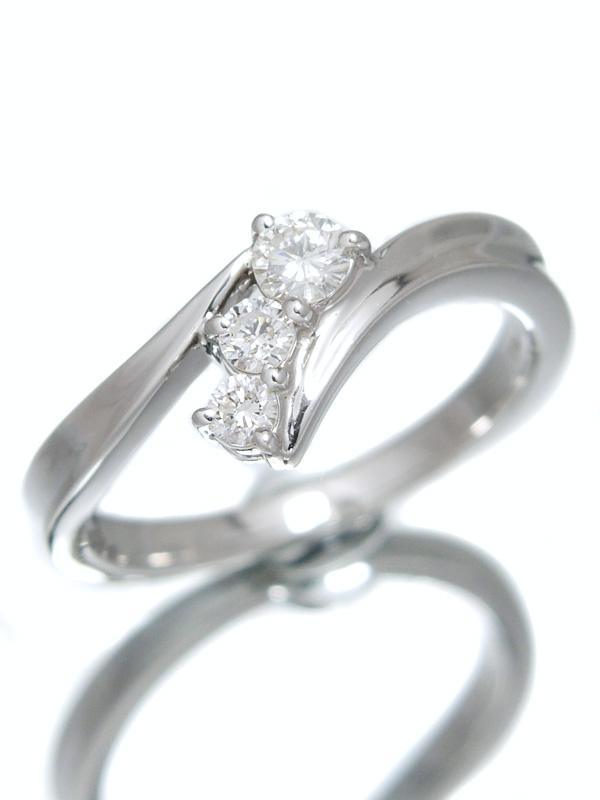 セレクトジュエリー『K18WGリング 3Pダイヤモンド0.24ct』12号 1週間保証【中古】b01j/h17A