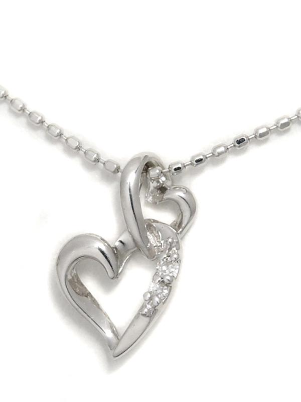 【Samantha Tiara】サマンサティアラ『K18WGネックレス ダイヤモンド0.01ct ダブルハートモチーフ』1週間保証【中古】b01j/h02A
