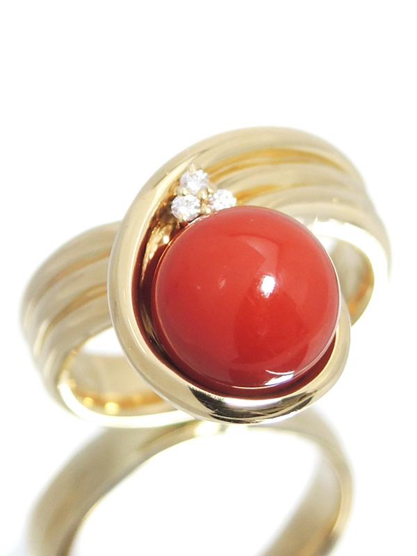 【POLA】【仕上済】ポーラ『K18YGリング サンゴ9.3mm ダイヤモンド0.03ct』13号 1週間保証【中古】b02j/h09SA