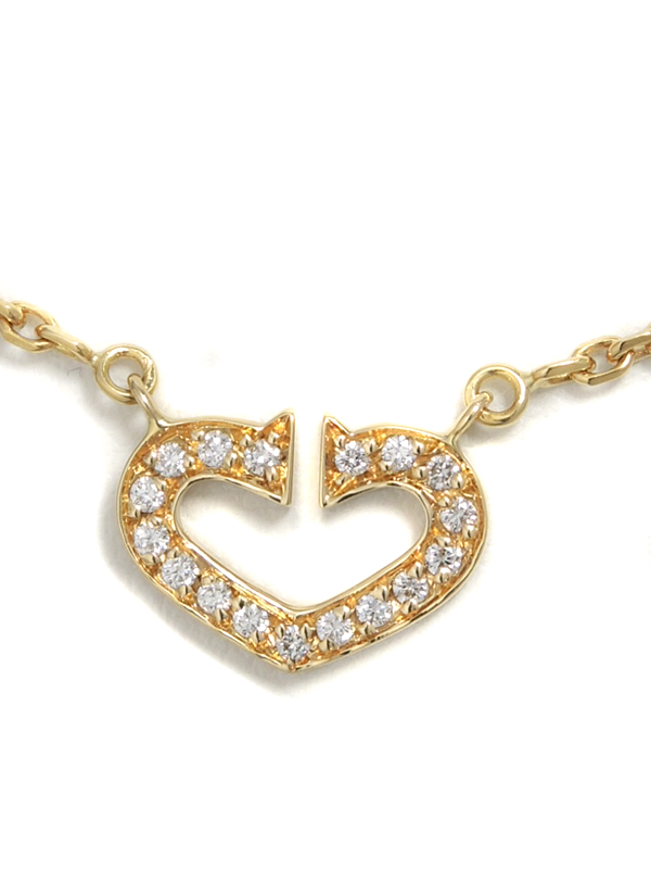 【Cartier】カルティエ『Cハート オブ カルティエ ダイヤモンド ネックレス』1週間保証【中古】b03j/h20A