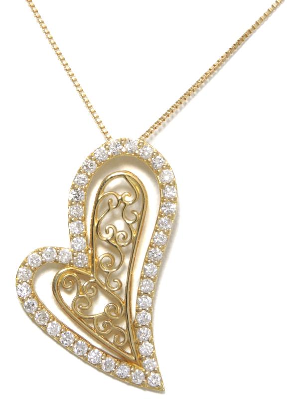セレクトジュエリー『K18YGネックレス ダイヤモンド0.50ct ハートモチーフ』1週間保証【中古】b06j/h17A