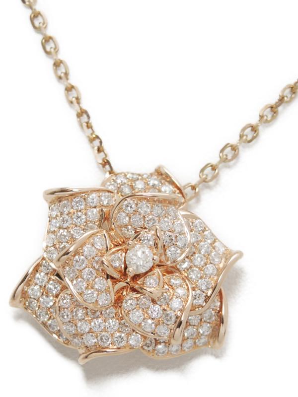 【仕上済】【パヴェダイヤ】【薔薇】【ブローチ】【2Way】セレクトジュエリー『K18PGネックレス ダイヤモンド2.00ct バラモチーフ』1週間保証【中古】b01j/h21SA