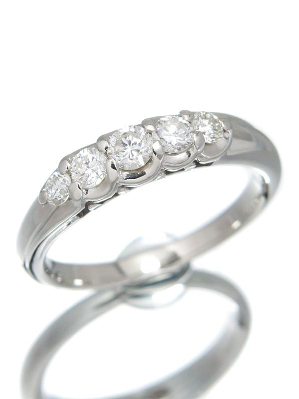 【仕上済】セレクトジュエリー『PT900リング 5Pダイヤモンド0.51ct』14号 1週間保証【中古】b01j/h02SA