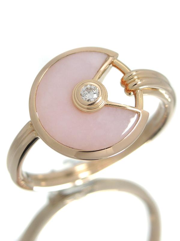 【Cartier】【AMULETTE】カルティエ『アミュレット ドゥ カルティエ リング XS ピンクオパール 1Pダイヤモンド』11号 1週間保証【中古】b02j/h19A