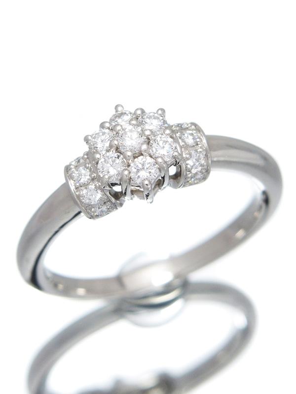 【星の砂】ホシノスナ『PT900リング ダイヤモンド0.31ct フラワーモチーフ』12号 1週間保証【中古】b03j/h20A