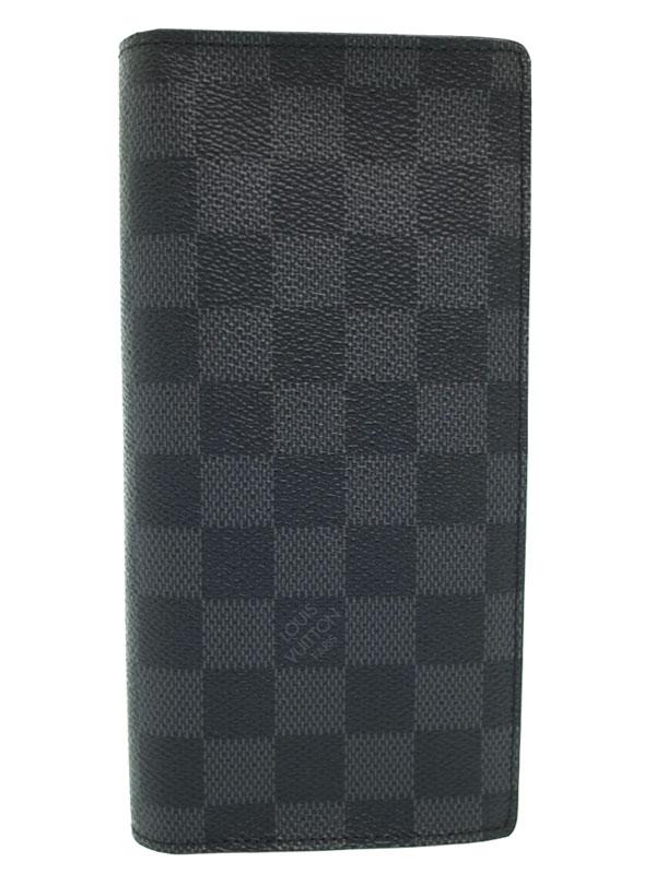 【LOUIS VUITTON】ルイヴィトン『ダミエ グラフィット ポルトフォイユ ブラザ』N62665 メンズ 二つ折り長財布 1週間保証【中古】b03b/h12SA