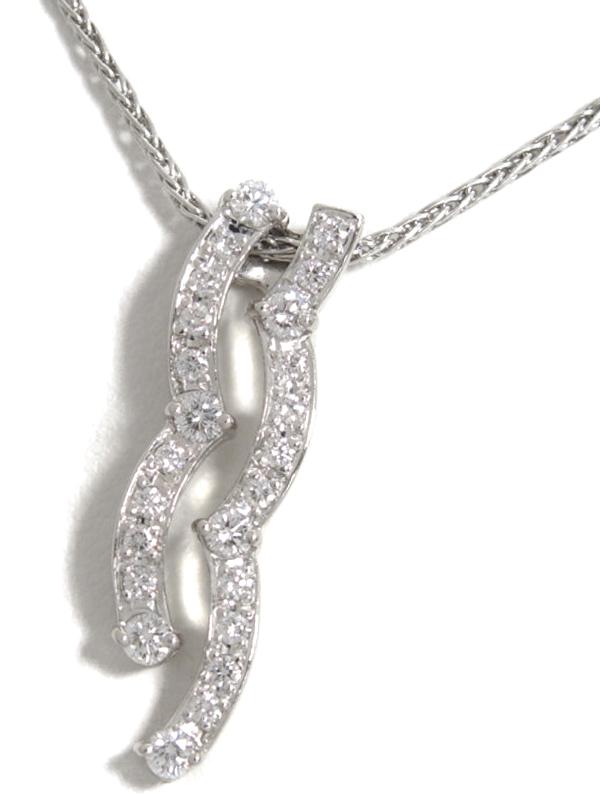 【星の砂】ホシノスナ『PT900/PT850ネックレス ダイヤモンド0.34ct』1週間保証【中古】b01j/h22A