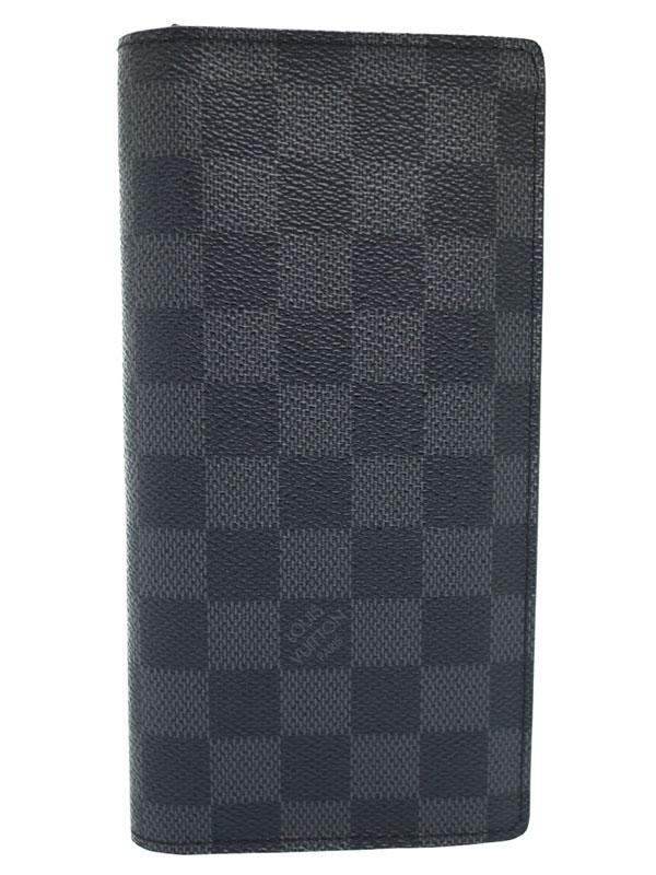 【LOUIS VUITTON】ルイヴィトン『ダミエ グラフィット ポルトフォイユ ブラザ』N62665 メンズ 二つ折り長財布 1週間保証【中古】b03b/h20A