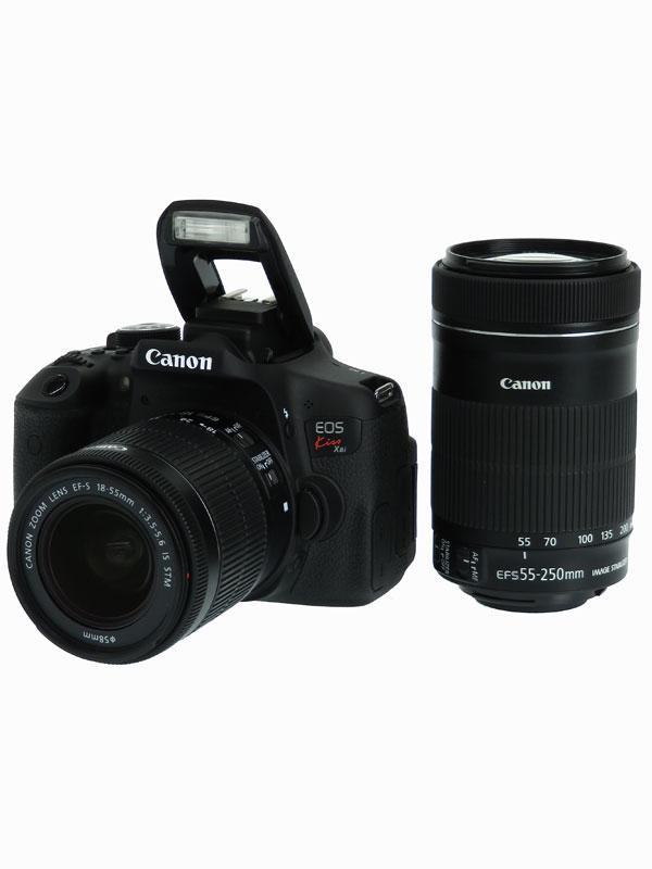 【Canon】キヤノン『EOS Kiss X8iダブルズームキット』KISSX8I-WKIT 2420万画素 デジタル一眼レフカメラ 1週間保証【中古】b06e/h12AB