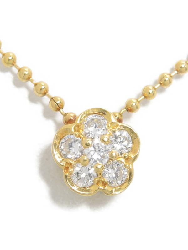 【星の砂】ホシノスナ『K18YGネックレス ダイヤモンド0.20ct フラワーモチーフ』1週間保証【中古】b03j/h11A