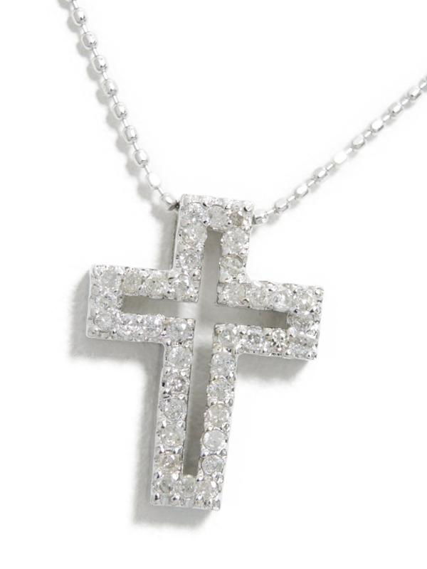セレクトジュエリー『K18WGネックレス ダイヤモンド0.26ct クロスモチーフ』1週間保証【中古】b01j/h22AB