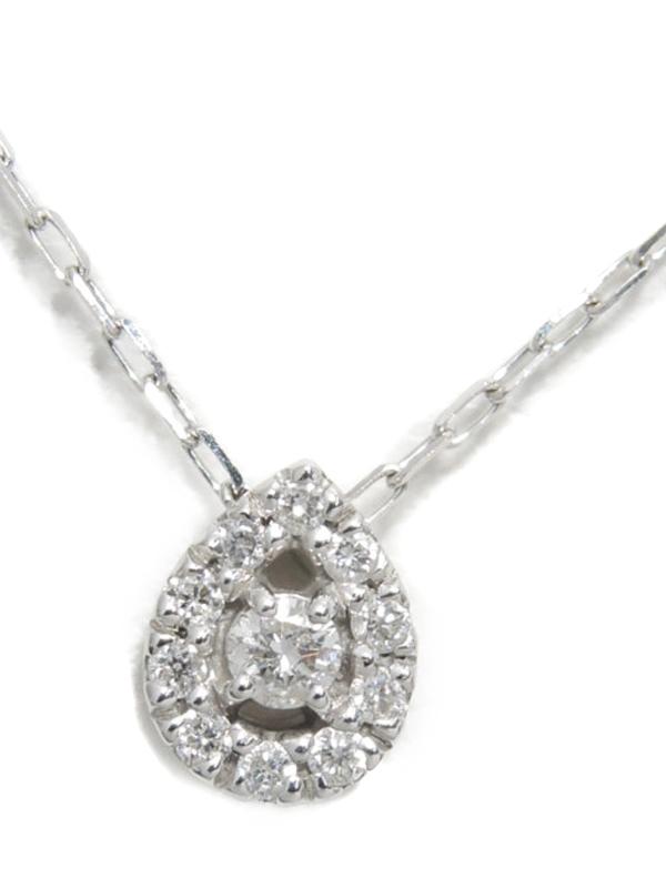 【4℃】【しずく型】ヨンドシー『K18WGネックレス ダイヤモンド ドロップモチーフ』1週間保証【中古】b01j/h08A