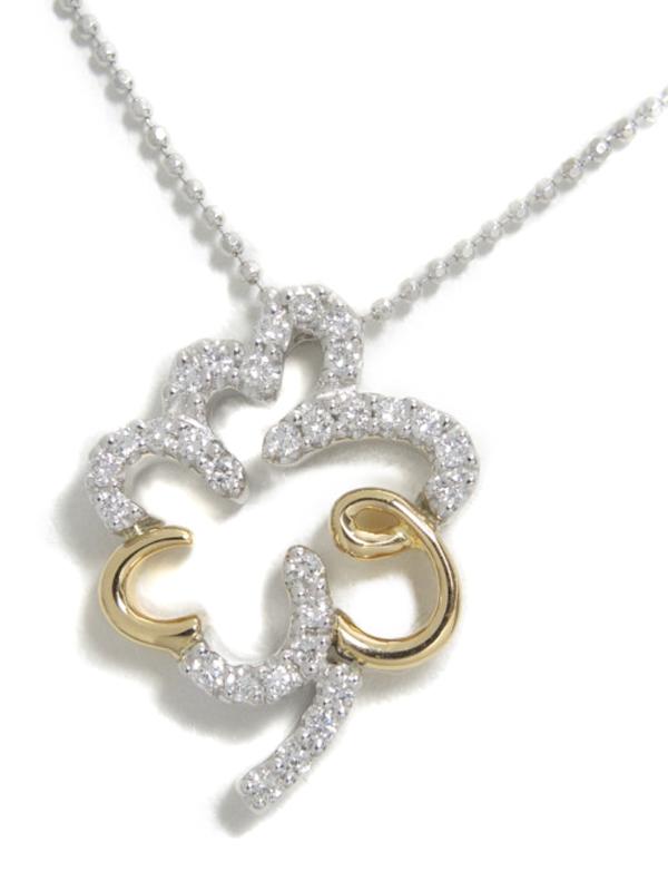 【仕上済】セレクトジュエリー『K18WG/K18YGネックレス ダイヤモンド0.30ct クローバーモチーフ』1週間保証【中古】b01j/h21SA