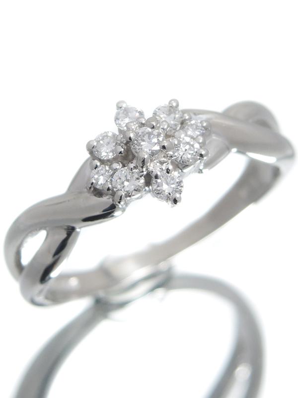 【TASAKI】【仕上済】タサキ『PT900リング ダイヤモンド0.17ct フラワーモチーフ』11号 1週間保証【中古】b06j/h17SA