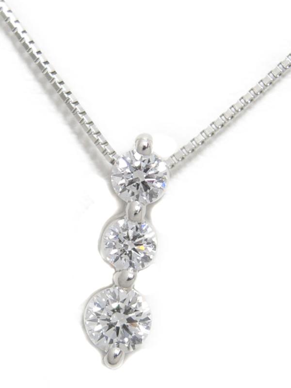 セレクトジュエリー『PT900/PT850ネックレス 3Pダイヤモンド0.254ct』1週間保証【中古】b02j/h03A