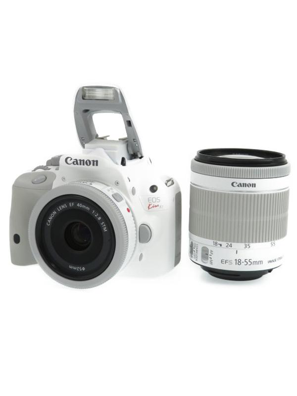 【Canon】キヤノン『EOS Kiss X7 ダブルレンズキット2』KISSX7WH-WLK2 ホワイト フルHD デジタル一眼レフカメラ 1週間保証【中古】b05e/h12AB
