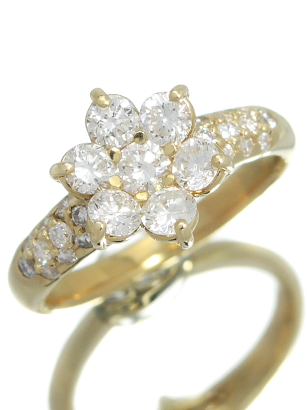 セレクトジュエリー『K18YGリング ダイヤモンド1.00ct フラワーモチーフ』10号 1週間保証【中古】b01j/h02A