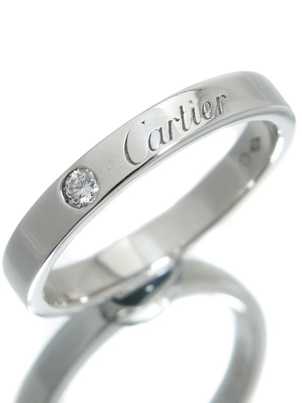 【Cartier】【C ドゥ カルティエ】【仕上済】カルティエ『エングレーブド リング 1Pダイヤ』11.5号 1週間保証【中古】b06j/h12SA
