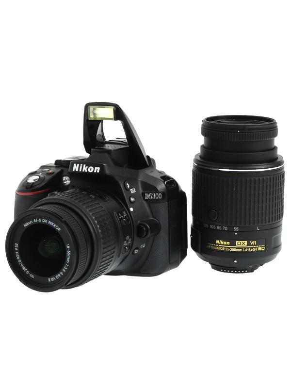 【Nikon】ニコン『D5300 ダブルズームキット2』D5300W55200KITBK ブラック 2416万画素 デジタル一眼レフカメラ 1週間保証【中古】b02e/h13B