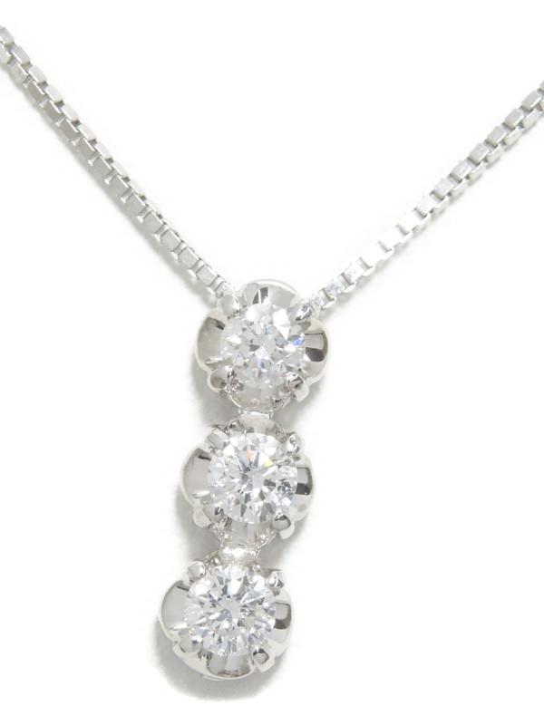セレクトジュエリー『K18WGネックレス 3Pダイヤモンド0.33ct』1週間保証【中古】b01j/h22A