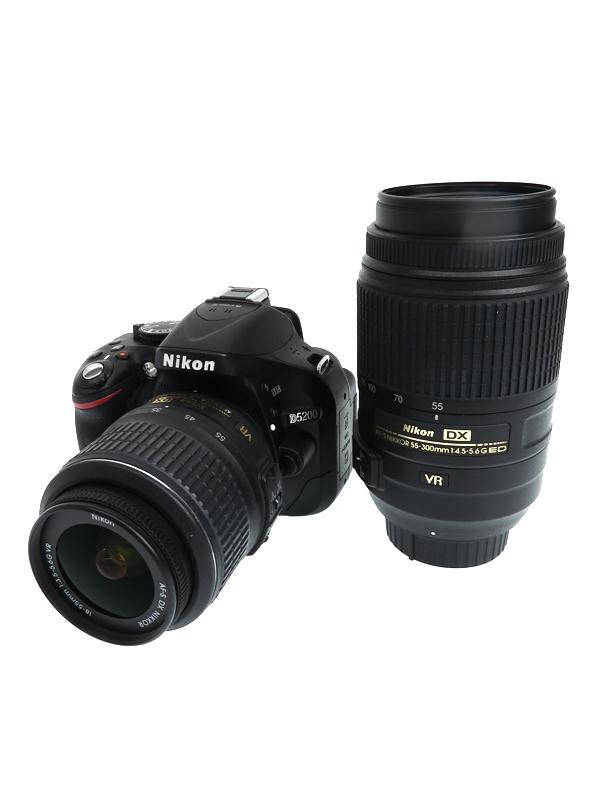 【Nikon】ニコン『D5200 ダブルズームキット』ブラック 手ぶれ補正 2410万画素 DXフォーマット SDXC デジタル一眼レフカメラ 1週間保証【中古】b03e/h20B