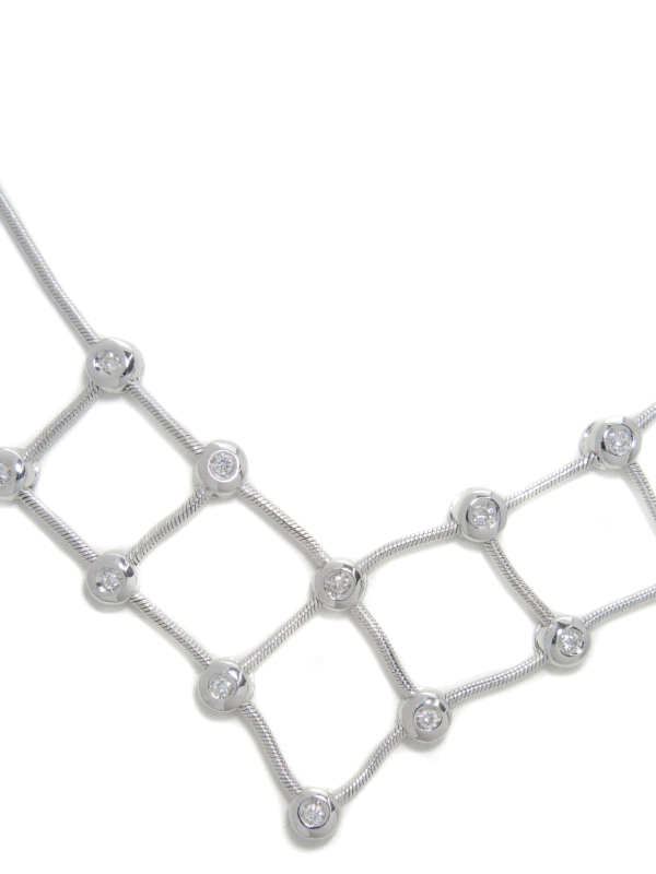【CHIMENTO】【2連チェーン】キメント『K18WGネックレス ダイヤモンド』1週間保証【中古】b03j/h21A