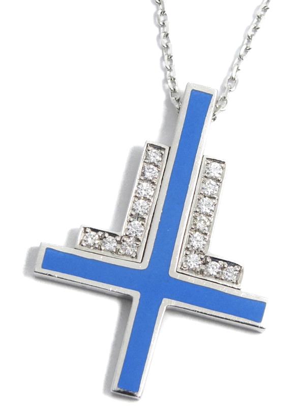【LANVIN】【ブルーライン】ランバン『K18WGネックレス ダイヤモンド0.16ct クロスモチーフ』1週間保証【中古】b06j/h17A