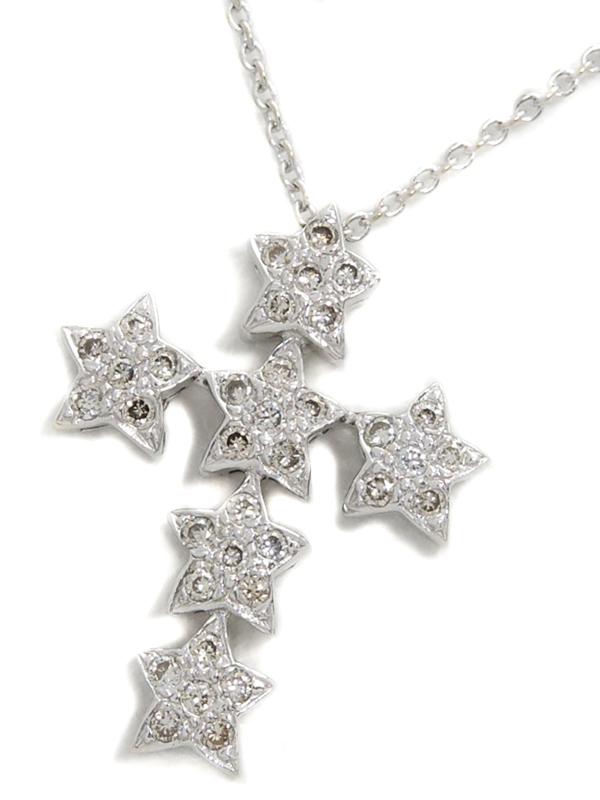 【星】【スター】セレクトジュエリー『K18WGネックレス ダイヤモンド0.18ct クロスモチーフ』1週間保証【中古】b01j/h22A