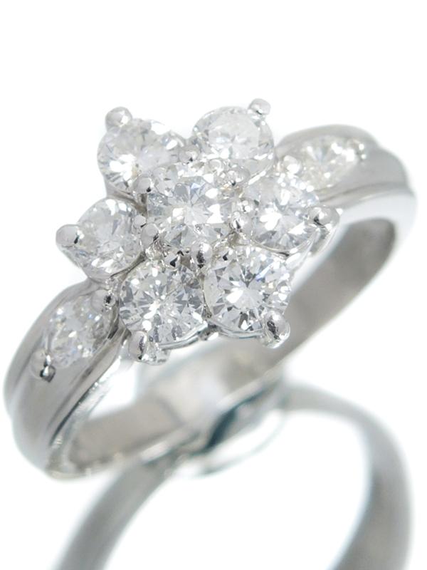 セレクトジュエリー『PT900リング ダイヤモンド1.00ct フラワーモチーフ』9号 1週間保証【中古】b01j/h02A