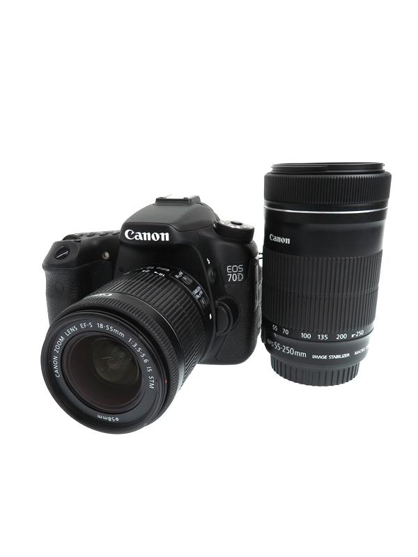 【Canon】キヤノン『EOS 70D EF-S18-55 EF-S55-250 ダブルズームキット』EOS70D-WKIT 2020万画素 SDXC デジタル一眼レフカメラ 1週間保証【中古】b03e/h06B