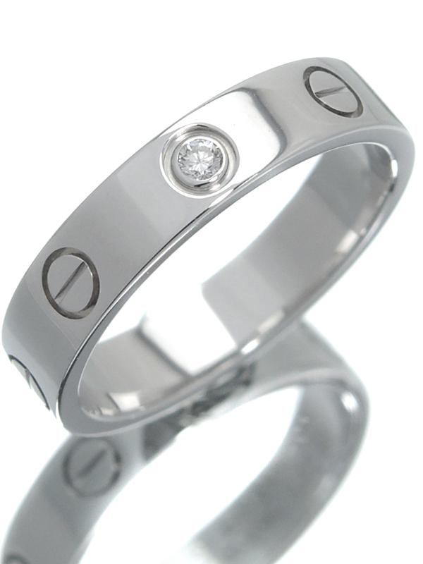 【Cartier】【仕上済】カルティエ『K18WG ミニラブリング 1Pダイヤモンド』10号 1週間保証【中古】b01j/h04SA
