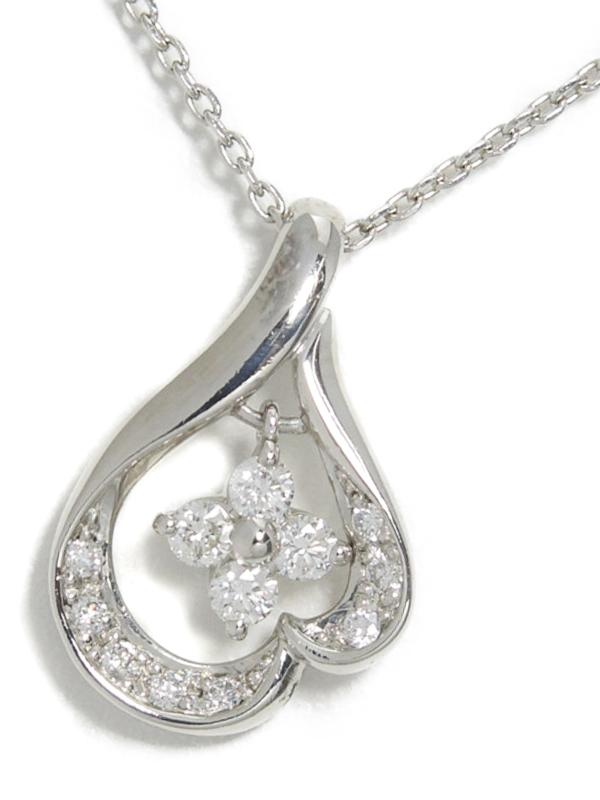 【4℃】【2012年限定】ヨンドシー『PT850ネックレス ダイヤモンド0.183ct』1週間保証【中古】b01j/h21A