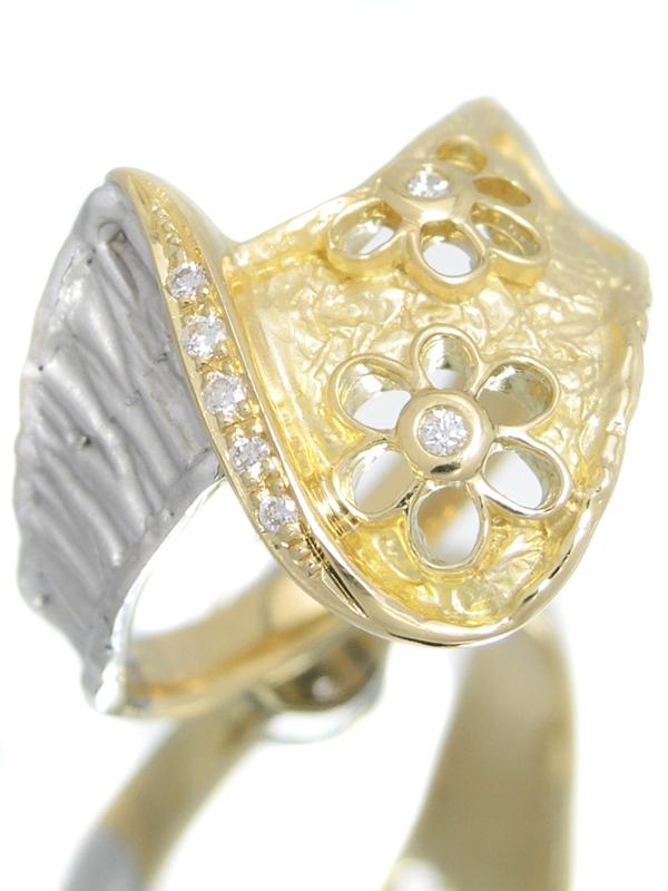 セレクトジュエリー『K18YG/K18WGリング ダイヤモンド0.04ct フラワーデザイン』15号 1週間保証【中古】b01j/h22A