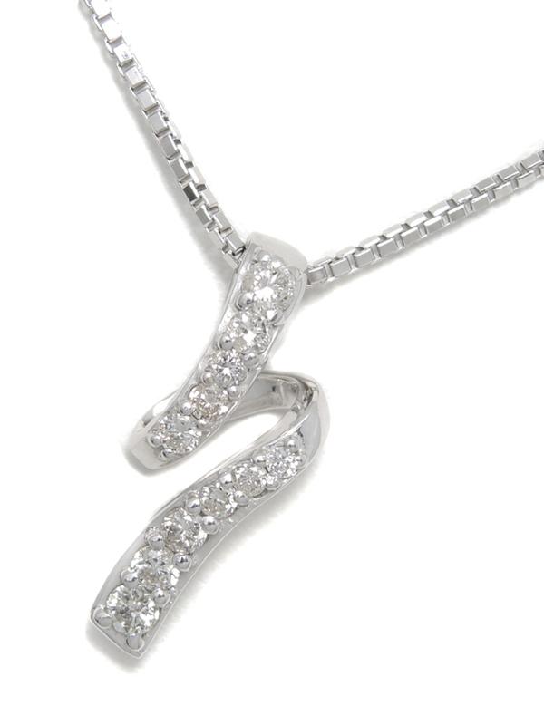 セレクトジュエリー『K18WGネックレス ダイヤモンド0.30ct』1週間保証【中古】b02j/h09A