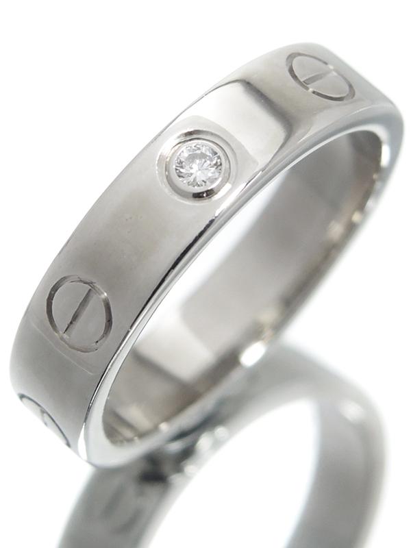 【Cartier】【仕上済】カルティエ『ミニラブリング 1Pダイヤモンド』8号 1週間保証【中古】b03j/h11SA