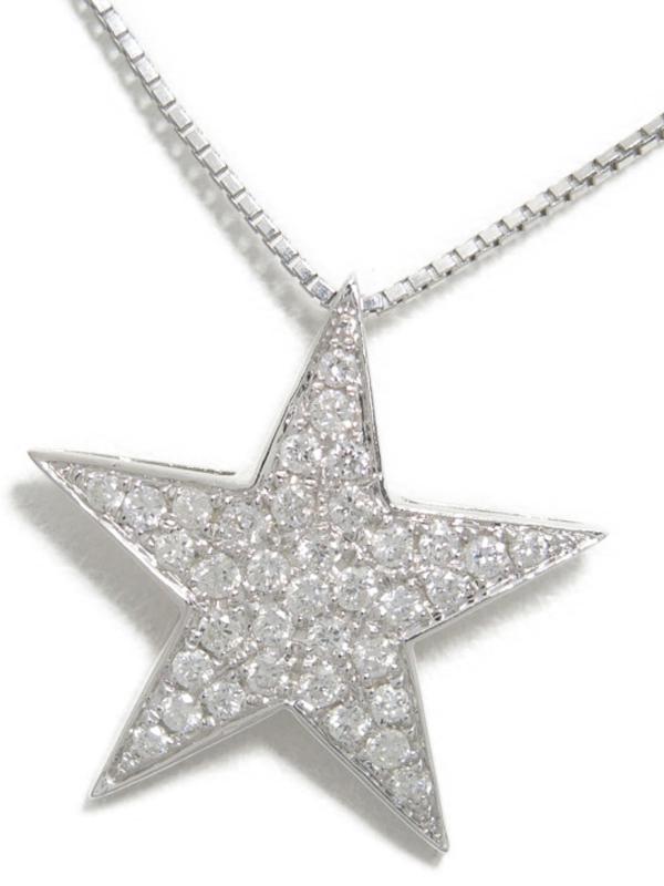 【星】【パヴェダイヤ】セレクトジュエリー『K18WGネックレス ダイヤモンド0.30ct スターモチーフ』1週間保証【中古】b05j/h10A