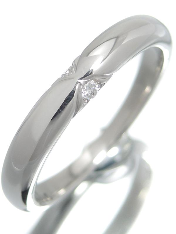 【星の砂】【仕上済】ホシノスナ『PT950リング ダイヤモンド0.05ct』15号 1週間保証【中古】b05j/h10SA