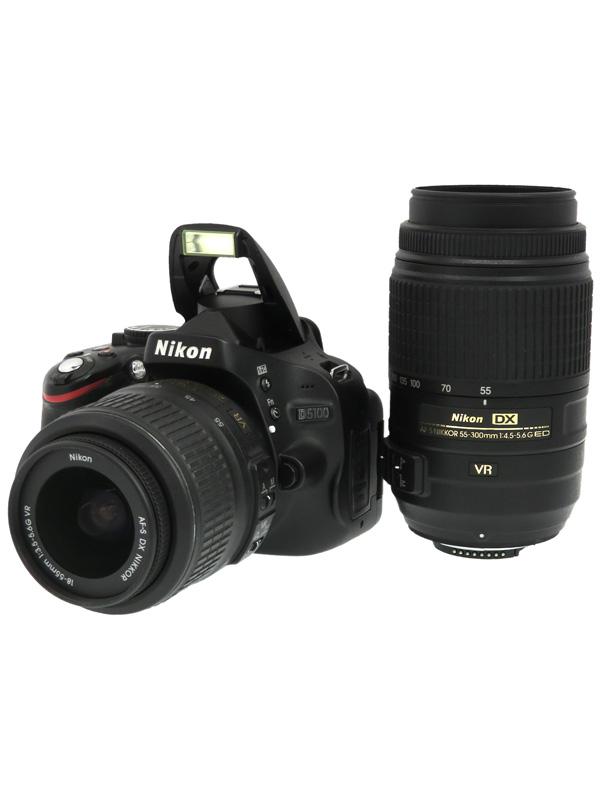 【Nikon】ニコン『D5100 ダブルズームキット』1620万画素 DXフォーマット SDXC デジタル一眼レフカメラ 1週間保証【中古】b02e/h03AB