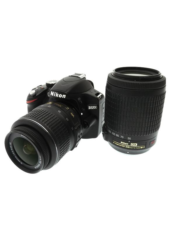 【Nikon】ニコン『D3200 ダブルズームキット』D3200WZBK ブラック 2416万画素 SDXC デジタル一眼レフカメラ 1週間保証【中古】b03e/h20AB