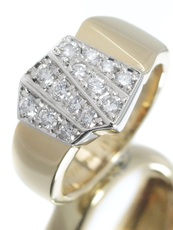 【POLA】ポーラ『K18YG/PT900リング ダイヤモンド0.39ct』8号 1週間保証【中古】b06j/h17A