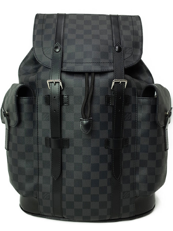【LOUIS VUITTON】【リュックサック】ルイヴィトン『ダミエ グラフィット クリストファーPM』N41379 メンズ バックパック 1週間保証【中古】b03b/h02A