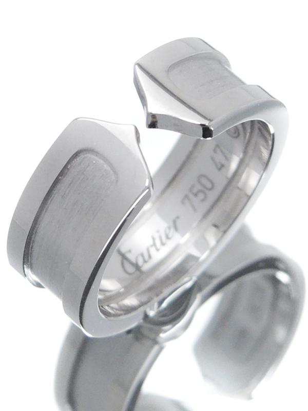 【Cartier】【仕上済】カルティエ『K18WG ロゴ ドゥーブルC C2リング』7号 1週間保証【中古】b02j/h03SA