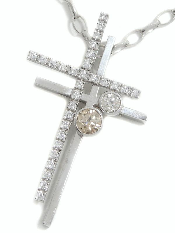 【Kashikey】【チェーン社外品】カシケイ『K18WGネックレス ダイヤモンド0.58ct 0.37ct ダブル クロスモチーフ』1週間保証【中古】b06j/h07A