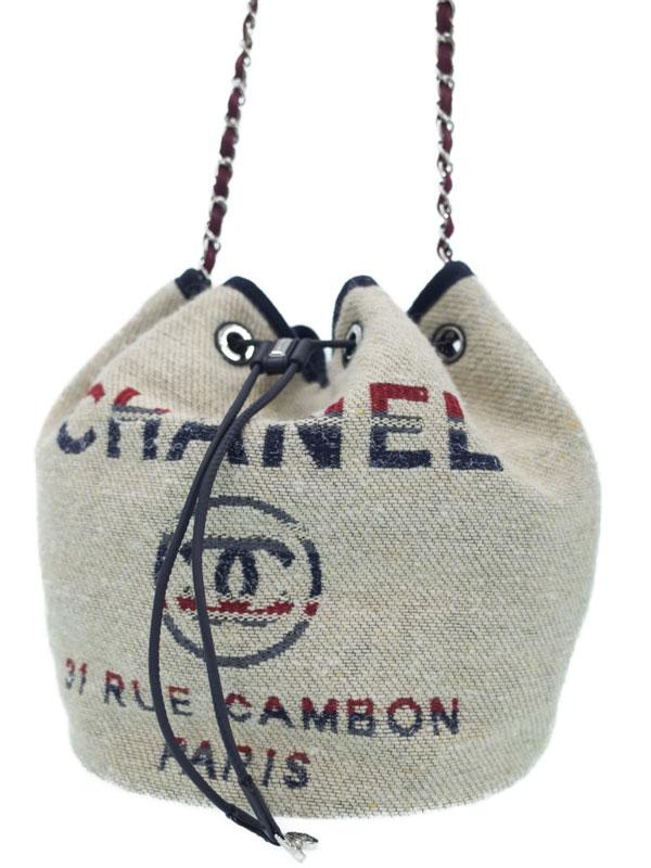 【CHANEL】【シルバー金具】シャネル『ドーヴィル 巾着型 チェーンショルダーバッグ』A57536 レディース 1週間保証【中古】b03b/h11AB