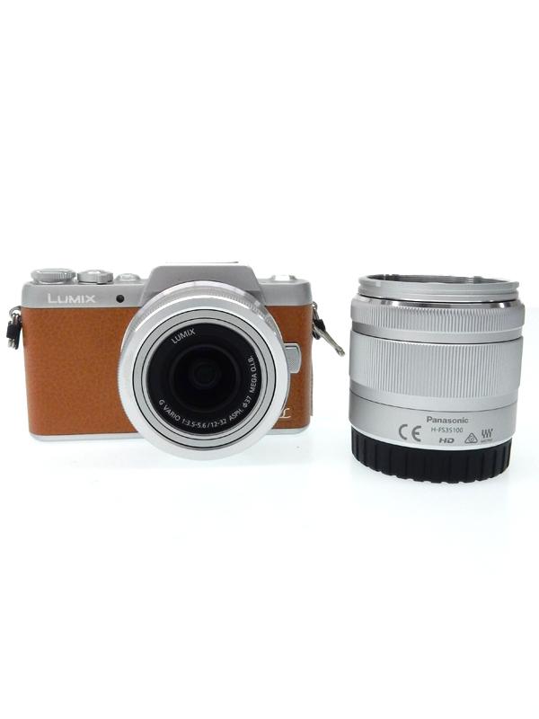 【Panasonic】パナソニック『LUMIX(ルミックス) GF7ダブルズームレンズキット』DMC-GF7W-T ブラウン 1600万画素 ミラーレス一眼カメラ【中古】b02e/h21B